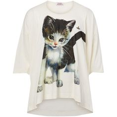 Vivienne Westwood One Size Oversize Kitten Shirt ($390) ❤ liked on Polyvore featuring tops, t-shirts, beige, beige t shirt, cat t shirt, embroidery shirts, cotton tee and oversized t shirt