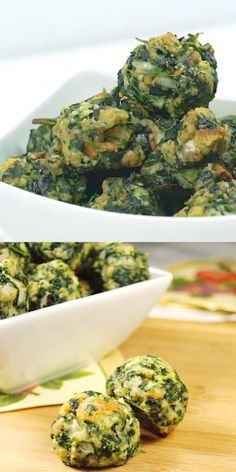 food and drinks: Spinach Balls ~ party-perfect! These little bites . Spinach Appetizers, Appetizer Recipes, Keto Recipes, Cooking Recipes, Healthy Recipes, Cooked Spinach Recipes, Appetizers Superbowl, Swiss Chard Recipes, Vegetarian Recipes Videos