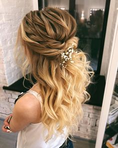 47 Beautiful Half Up Half Down Wedding Hairstyles For A Romantic Bride. Textured updo, updo wedding hairstyles,updo hairstyles,partial updos #weddinghair #wedding #hairstyles #updowedding #weddinghairstyles