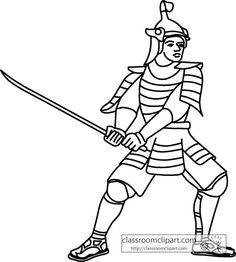 History   Japanese Samurai Outline   Classroom Clipart