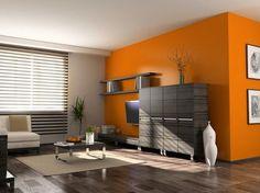 Bardzo nam się podoba połączenie koloru pomarańczowego z szarym oraz z podłogą. To jest nasza propozycja na kolorystykę w salonie. Szczegóły w mailu