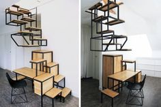 green furniture, Transforming Furniture, Green Home decor, green Interiors, Studio Mieke Meijer, Object élevé, storage-stair, space saving stairs