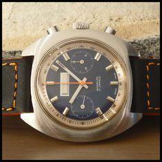 1970's AVIA [Suisse] Vintage Chronograph 43mm Watch; 17j HW Valjoux Cal. 7733