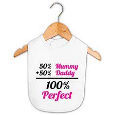 Baby Girl 100% Perfect Bib   Custom Made Baby Gifts   Word On Baby
