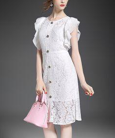 Look at this #zulilyfind! White Lace Button Flutter-Sleeve Dress #zulilyfinds