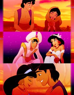 I love how when Jasmine and Aladdin first meet, Aladdin is a pauper and Jasmine is pretending to be someone she'd rather be- a pauper. The next time they meet, Jasmine is dressed as royalty and Aladdin is dressed like he's always wanted to be- as royalty. In both scenarios, when Jasmine and Aladdin tried to be alike, something ended up separating them. It wasn't until they both accepted who they were that they finally ended up together.