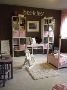 My daughter's pink and brown little girls princess room / playroom. This serene kids room is one of my pride and joys!  It's such a fun play room, but I hid and organized all of the toys in storage bins - Cute, functional and FUN!
