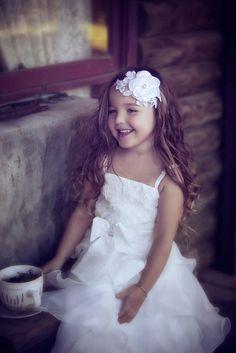 Flower Girl White Lace & Blossom Headband