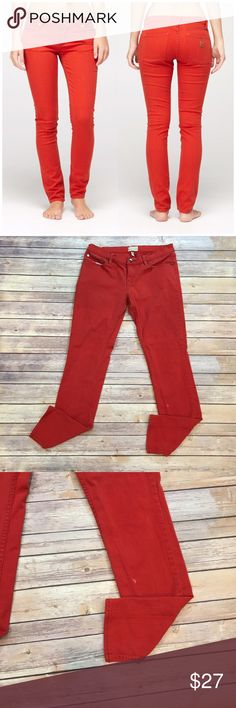 """Roxy Red Skinny Jeans Roxy Red Skinny Jeans. 98% cotton 2% spandex. Waist laying flat 16.5"""". Front rise 8""""/ back 10"""". Inseam 30"""". Please carefully review each photo before purchase as they are the best descriptors of the item. (B003) Roxy Jeans Skinny"""
