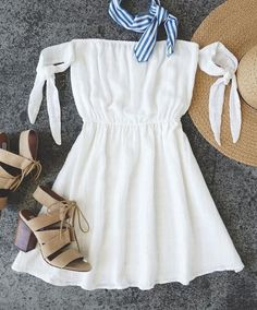 Sip on Sunshine Ivory - Schulterfreies Kleid - Hochzeitsgast Outfit Cute Dresses, Casual Dresses, Casual Outfits, Fashion Outfits, Summer Dresses, Fashion Clothes, Kohls Dresses, White Dress Summer, Summer Romper