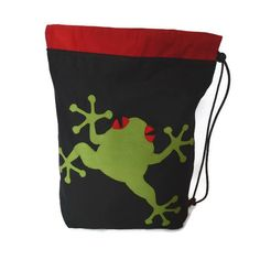 Red eyed tree frog drawstring / PE bag by MinXtures on Etsy, £17.50