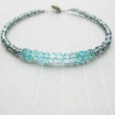 CALM ROCKS  Wish Bracelet  Blue Apatite Glass Bead by HarperStreet