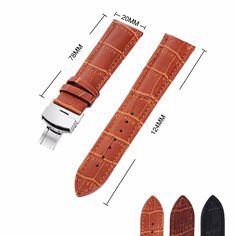 >> Click to Buy << Luxury Light Brown Genuine Leather Butterfly Deployant Clasp Watchband 18 20 22 24mm Replacement Watch Strap for Men and Women #Affiliate