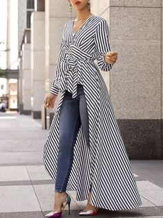 V-Neck Striped Tie Waist Dip Hem Irregular Blouse - Stylish Fashion Look Fashion, Autumn Fashion, Womens Fashion, Fashion Design, Fashion Trends, Ladies Fashion, Fashion Ideas, Feminine Fashion, Feminine Style