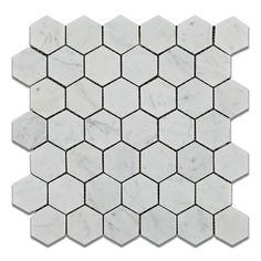 "Buy Carrara White Marble Polished 2"" Hexagon Mosaic Tile Sample Product Attributes - Item: Premium (SELECT) Quality 2"" Italian Carrara White Marble HEXAGON POLISHED MOSAIC TILE (ON-MESH) - Dimensions"