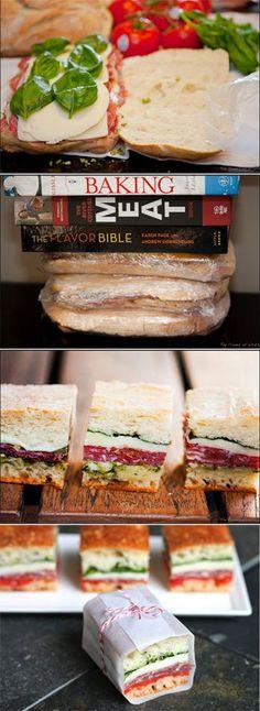 Little pressed picnic sandwiches.