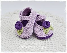 Crochet Lilac and Purple Mary Jane Baby Shoes by TabbyCraftDesigns for idea...find pattern...may have pattern lol