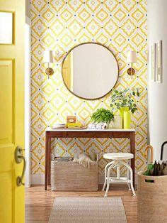 chantemur papier peint, papier peint design guild de couleur jaune blanc