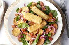Fetakroketjes met geroosterde zoete aardappelsalade Good Food, Yummy Food, Pasta Salad, Foodies, Side Dishes, Healthy Eating, Healthy Food, Veggies, Tasty