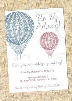 Vintage Hot Air Balloon Party Invitation by LeslieStarDesign 1500