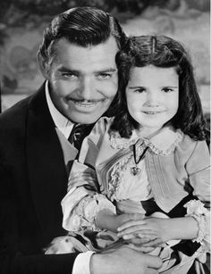 """Gone With the Wind"" - Clark Gable & Cammie King Conlon. In the movie, Bonnie Blue Butler was her daddy's Rhett Butler, little girl"