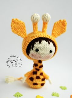 Knitted amigurumi giraffe doll by Tanoshi series toy. (Pattern available to buy). Crochet Dolls, Knit Crochet, Knitted Animals, Crochet For Kids, Stuffed Toys Patterns, Baby Knitting, Knitting Patterns, Crafts, Baby Knits