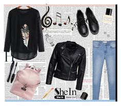 """SHEIN - Black-Long-Sleeve-Feather-Print-Loose-T-Shirt"" by fashionaddict-il ❤ liked on Polyvore featuring Benzara, MANGO, adidas, Tommy Hilfiger, Michael Kors, Sisters Point, Marc Jacobs, Lancôme, Essie and Napoleon Perdis"