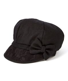 c3710363562 Look at this Jeanne Simmons Accessories Black Bow Newsboy Cap on  zulily  today! Dyt