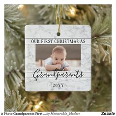 2 Photo Grandparents First Christmas Faux Marble Ceramic Ornament Cricut Christmas Ideas, Baby First Christmas Ornament, Babies First Christmas, Christmas Gifts For Kids, Diy Christmas, Christmas Stuff, Xmas Gifts, Christmas Decorations, Holiday