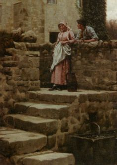 Sweethearts :: Edmund Blair Leighton - Romantic scenes in art and painting