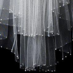Long Bridal Veils With Swarovski Crystals | Bridal Wedding Veil Two Layer Elbow Length w/AB Swarovski Crystal Edge ...