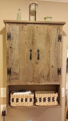 Rustic medicine cabinet..my husband's afternoon project
