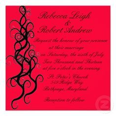 Swirling Wedding Invitations in Red  http://www.zazzle.com/LaBebba22?rf=238705799563917843
