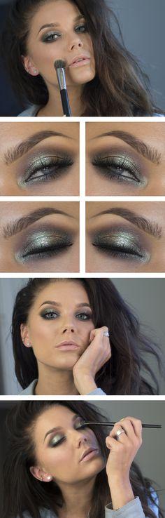 "Today's Look : ""Peach Kiss"" -Linda Hallberg (KIKO cream eyeshadow in 106 costum sugar green, layered under the MUG pigment in Insomnia, Nars Blush Goulue, and Maybelline Babylips in Peach Kiss) Linda Hallberg, Grey Eye Makeup, Makeup For Green Eyes, Beauty Makeup, Hair Beauty, Makeup Blog, Makeup Geek Pigment, Makeup Eyeshadow, Eye Pigment"
