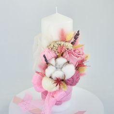 Candels, Pillar Candles, Christening, Clay, Flowers, Clays, Royal Icing Flowers, Flower, Florals