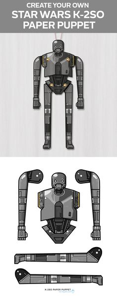 Create Your own Star Wars K-2SO paper puppet. Fun Paper crafts for kids!