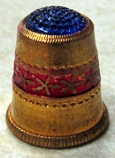 RP: VINTAGE AUSTRIAN THIMBLE - GOLD-TONED WITH A BLUE TOP - eBay.com