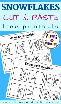 Free printable snowflake worksheets cut and paste activity for winter theme in preschool. #prek #planesandballoons