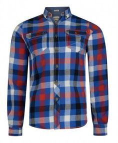 100% Cotton Long Sleeve Check Design Lee Cooper Men's Shirt