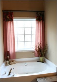 Bathroom Curtains idea for curtains on our bathroom window above the tub - like it a