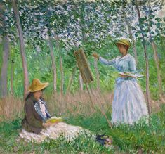 In the Woods at Giverny: Blanche Hoschedé at Her Easel with Suzanne Hoschedé Reading by Claude Monet from Los Angeles County Museum of Art