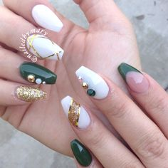 Dark green emerald gold white coffin acrylic Swarovski crystals nails