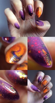 The cauldron spilled. Halloween ombre/jelly sandwich/dry marble. - Imgur