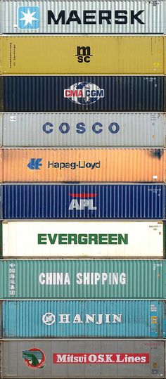 The top 10 container shipping companies, in order.  Amazing. I live in Portland Oregon and I've never seen half of them.  I've seen Maersk, Cosco, Hapeg-Lloyd, Evergreen and Hanjin but I've never seen M/SC, CMA-CGM, APL, China Shipping or Mitsui O.S.K. Lines.