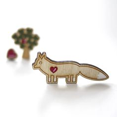 Wooden Fox Brooch Mushroom Chair, Sweet Little Things, Make Me Smile, Fox, Brooch, Illustration, Accessories, Awesome, Brooches