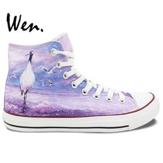 Wen Hand Painted Casual Shoes Custom Design Original Red-Crowned Cranes Women Men's High Top Canvas Shoes Christmas Gifts