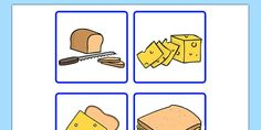 These cards can be cut up and intend to support sequencing and narrative skills. Four cards are provided showing the sequence in making a sandwich.