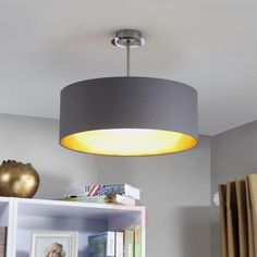 LED-taklampe Coleen i grått og gull Decor, Lamp, Ceiling Lights, Ceiling, Home Decor, Light