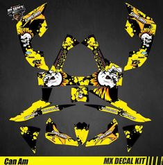 Kit Déco Quad pour / Atv Decal Kit for Can-Am Renegade - Punk Skull Can Am, Quad, Iron Man Birthday, Kit, Decals, Skull, Stickers, Canning, Motorbikes