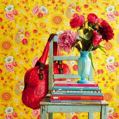 Pip Studio - Flowers in the Mix Wallpaper - 313050 Yellow